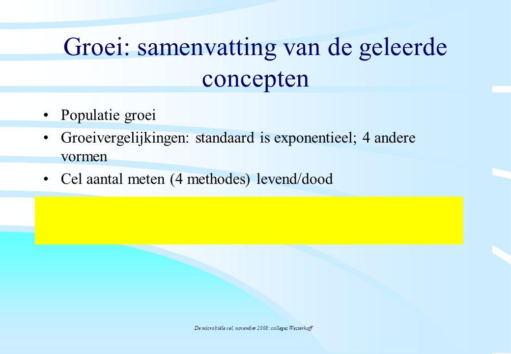 De microbiële cel, november 2008: colleges Westerhoff Groei: samenvatting van de geleerde concepten Populatie groei Groeivergelijkingen: standaard is