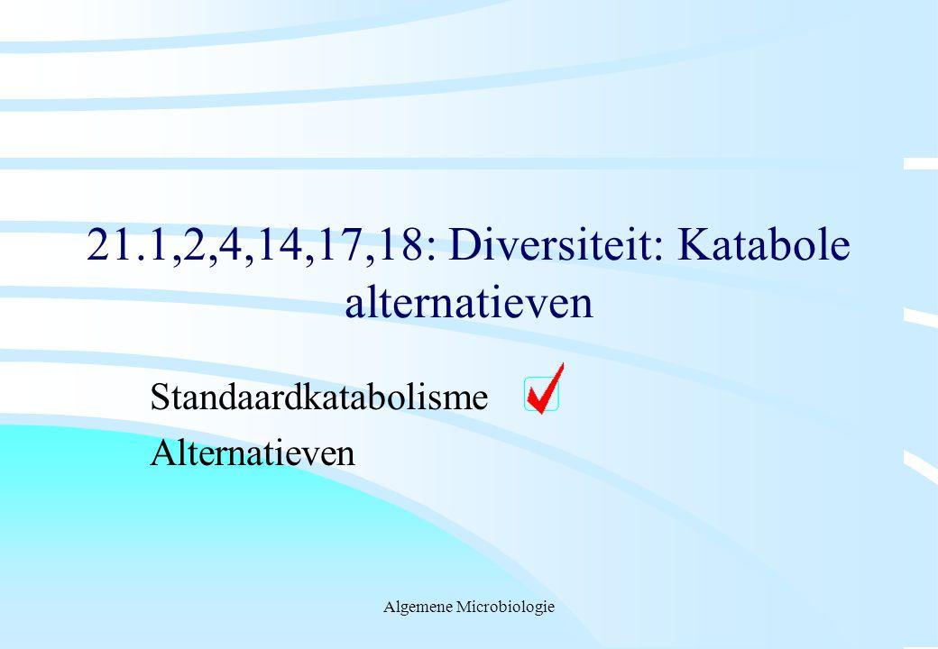 Algemene Microbiologie 21.1,2,4,14,17,18: Diversiteit: Katabole alternatieven Standaardkatabolisme Alternatieven