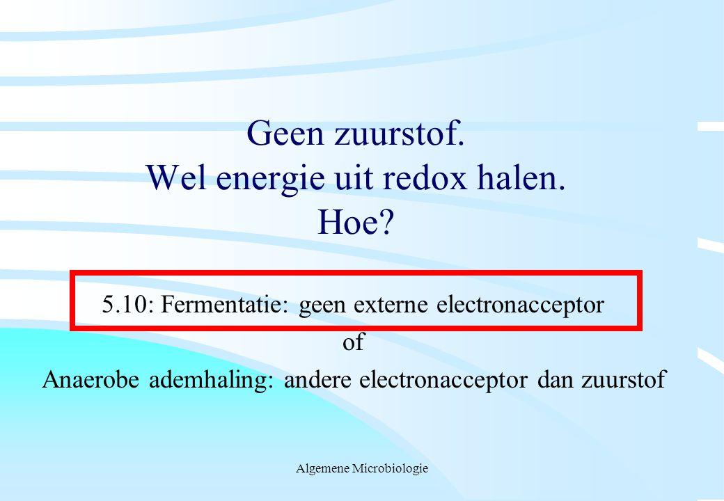 Algemene Microbiologie Geen zuurstof. Wel energie uit redox halen. Hoe? 5.10: Fermentatie: geen externe electronacceptor of Anaerobe ademhaling: ander