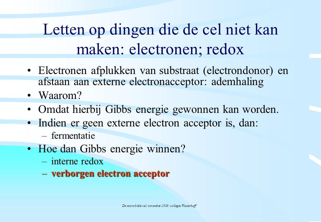 De microbiële cel, november 2008: colleges Westerhoff Letten op dingen die de cel niet kan maken: electronen; redox Electronen afplukken van substraat