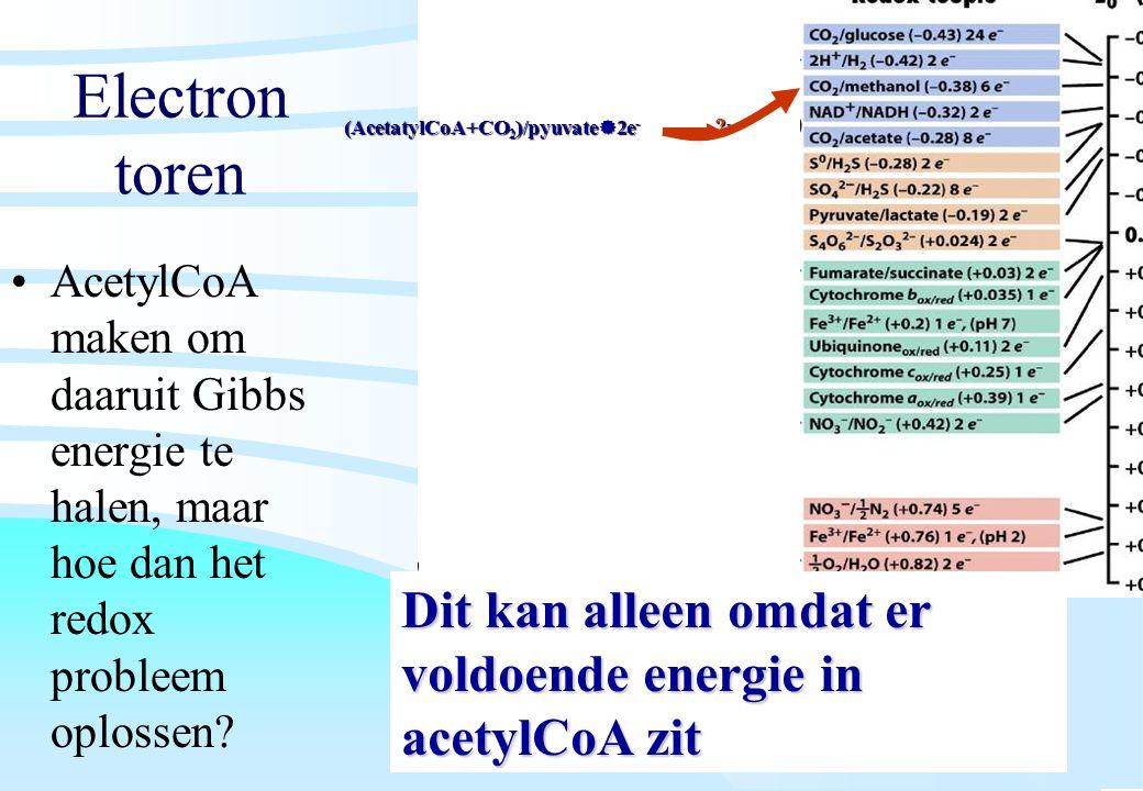 De microbiële cel, november 2008: colleges Westerhoff Electron toren AcetylCoA maken om daaruit Gibbs energie te halen, maar hoe dan het redox problee