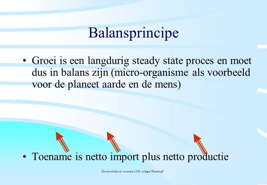 De microbiële cel, november 2008: colleges Westerhoff Balansprincipe Groei is een langdurig steady state proces en moet dus in balans zijn (micro-orga