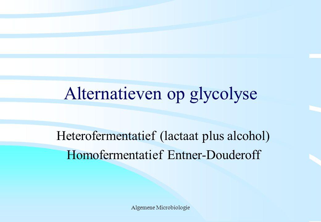 Algemene Microbiologie Alternatieven op glycolyse Heterofermentatief (lactaat plus alcohol) Homofermentatief Entner-Douderoff
