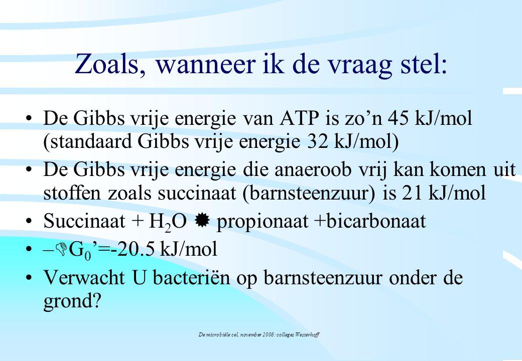 De microbiële cel, november 2008: colleges Westerhoff Zoals, wanneer ik de vraag stel: De Gibbs vrije energie van ATP is zo'n 45 kJ/mol (standaard Gib