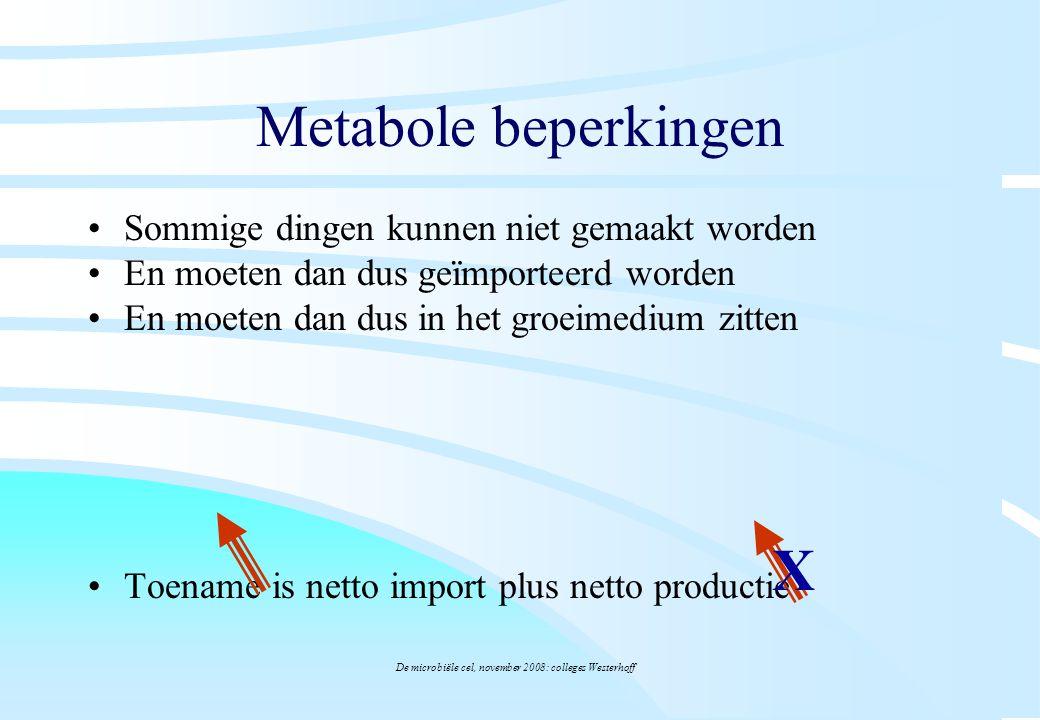 De microbiële cel, november 2008: colleges Westerhoff Metabole beperkingen Sommige dingen kunnen niet gemaakt worden En moeten dan dus geïmporteerd wo