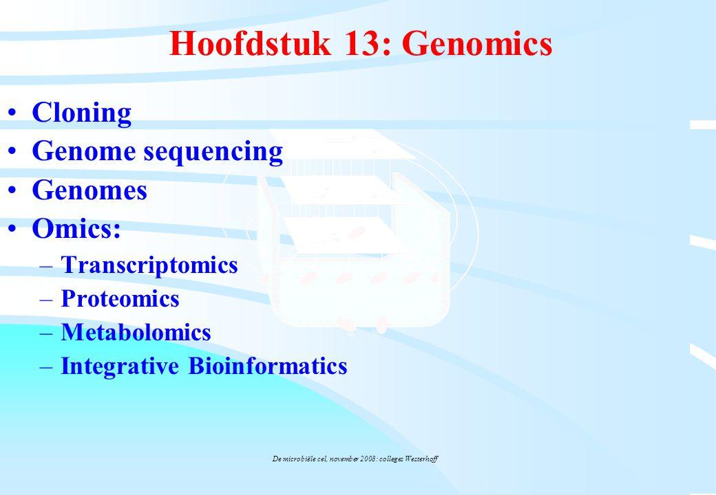 De microbiële cel, november 2008: colleges Westerhoff Hoofdstuk 13: Genomics Cloning Genome sequencing Genomes Omics: –Transcriptomics –Proteomics –Me