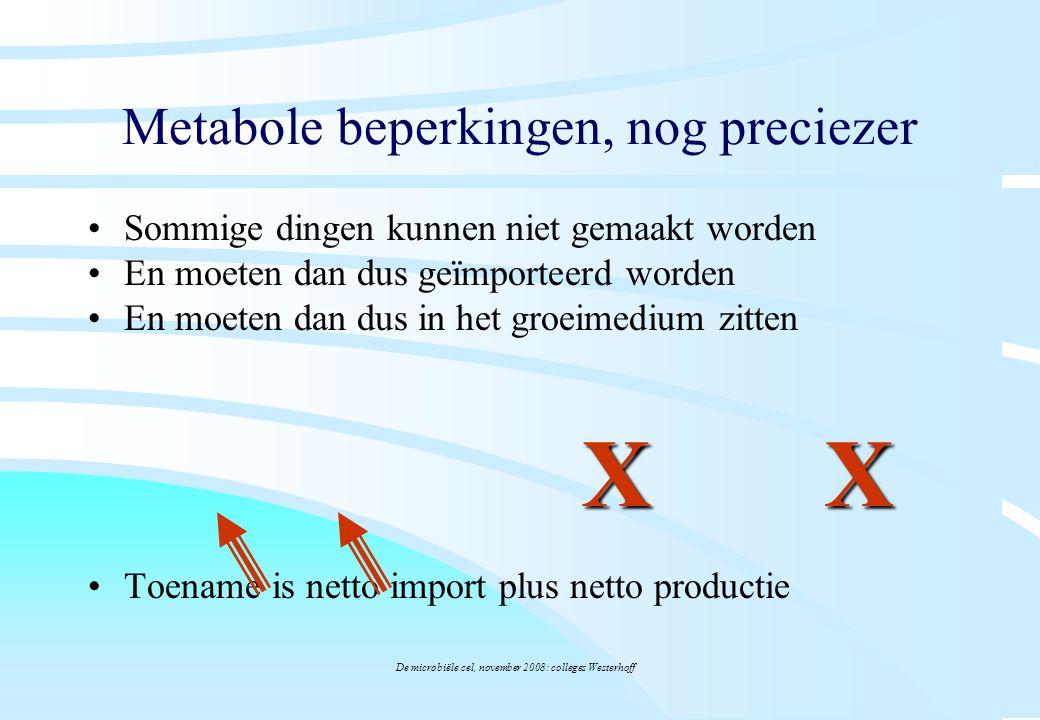 De microbiële cel, november 2008: colleges Westerhoff Metabole beperkingen, nog preciezer Sommige dingen kunnen niet gemaakt worden En moeten dan dus