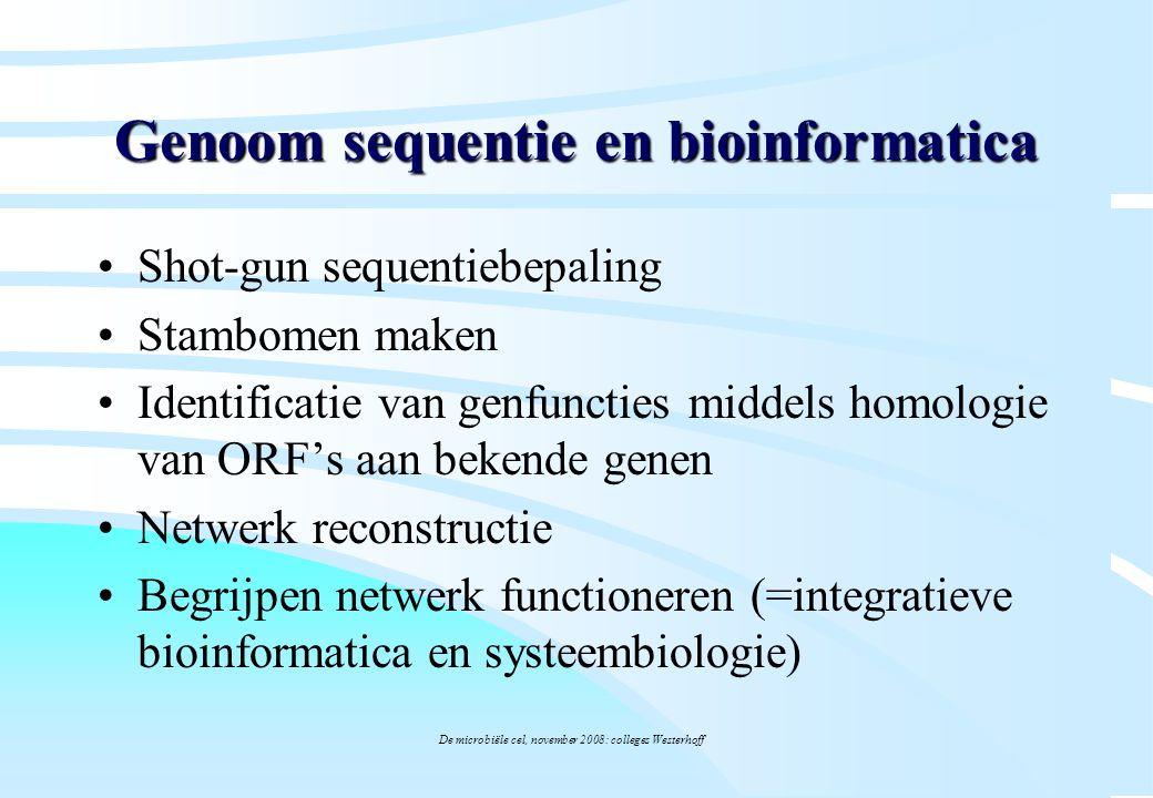 De microbiële cel, november 2008: colleges Westerhoff Genoom sequentie en bioinformatica Shot-gun sequentiebepaling Stambomen maken Identificatie van