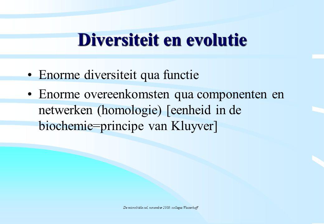 De microbiële cel, november 2008: colleges Westerhoff Diversiteit en evolutie Enorme diversiteit qua functie Enorme overeenkomsten qua componenten en