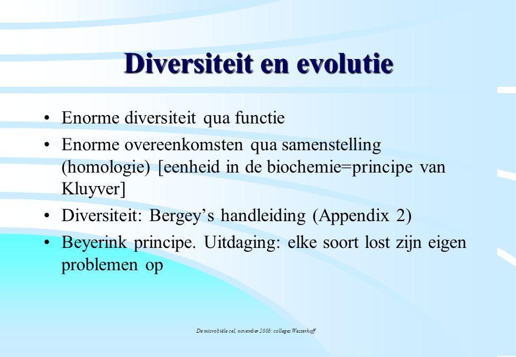 De microbiële cel, november 2008: colleges Westerhoff Diversiteit en evolutie Enorme diversiteit qua functie Enorme overeenkomsten qua samenstelling (