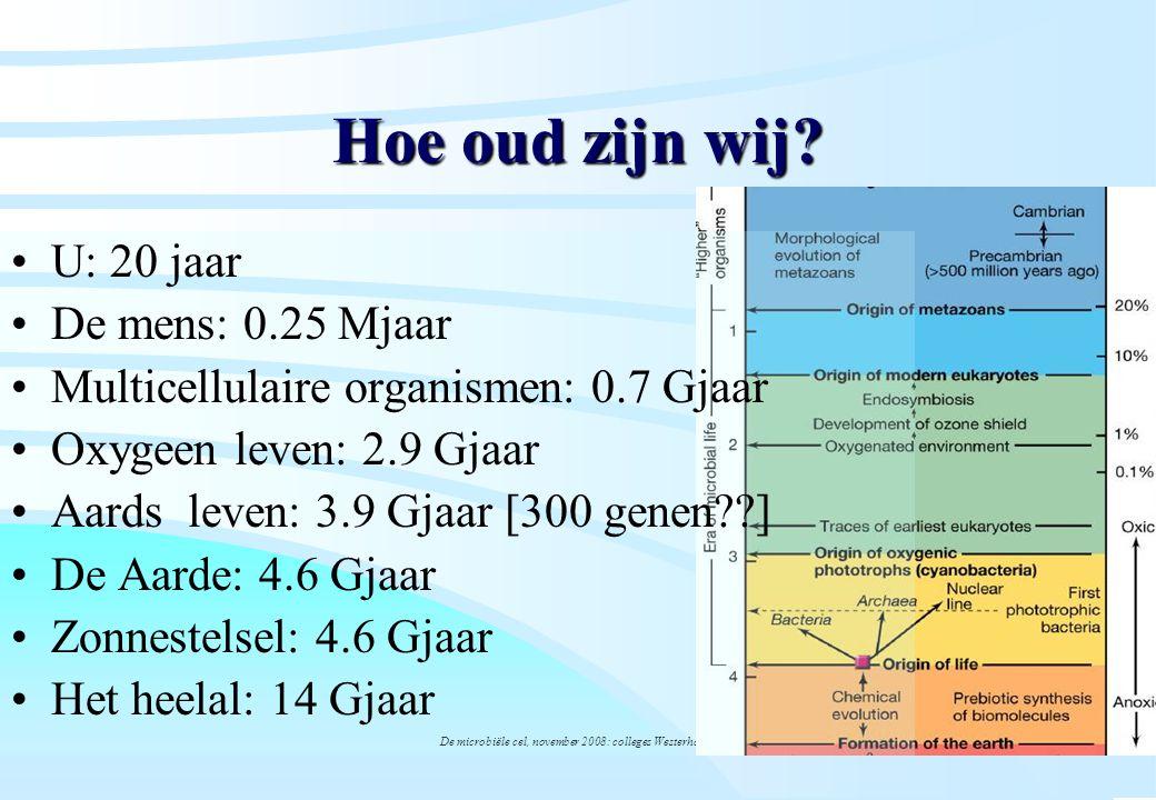 De microbiële cel, november 2008: colleges Westerhoff Hoe oud zijn wij? U: 20 jaar De mens: 0.25 Mjaar Multicellulaire organismen: 0.7 Gjaar Oxygeen l