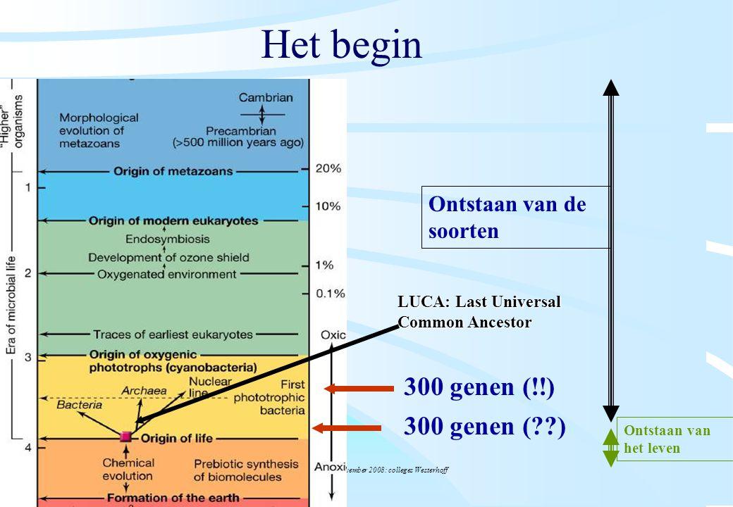 De microbiële cel, november 2008: colleges Westerhoff Het begin 300 genen (??) Ontstaan van de soorten Ontstaan van het leven 300 genen (!!) LUCA: Las