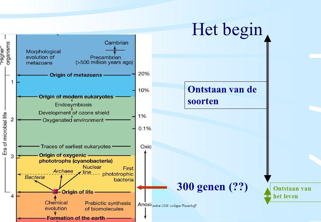 De microbiële cel, november 2008: colleges Westerhoff Het begin 300 genen (??) Ontstaan van de soorten Ontstaan van het leven