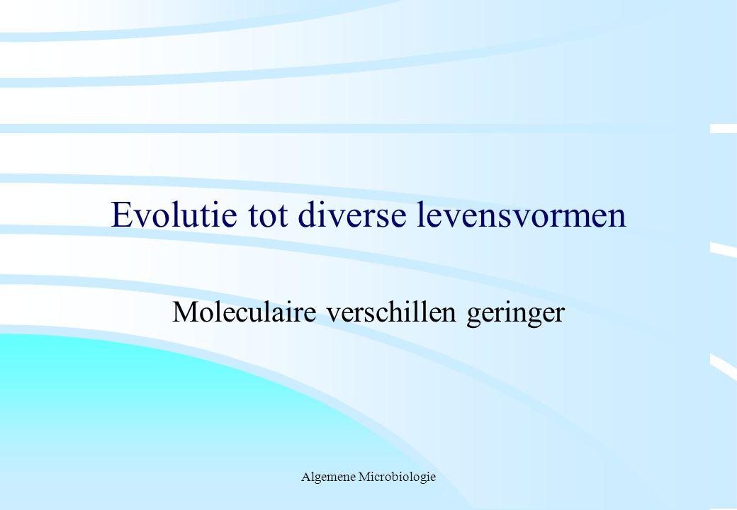 Algemene Microbiologie Evolutie tot diverse levensvormen Moleculaire verschillen geringer