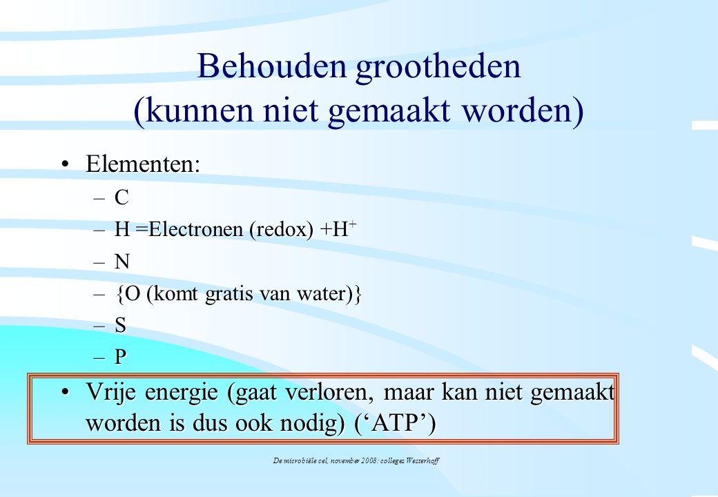 De microbiële cel, november 2008: colleges Westerhoff Behouden grootheden (kunnen niet gemaakt worden) Elementen:Elementen: –C –H =Electronen (redox)