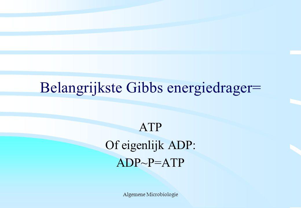 Algemene Microbiologie Belangrijkste Gibbs energiedrager= ATP Of eigenlijk ADP: ADP~P=ATP