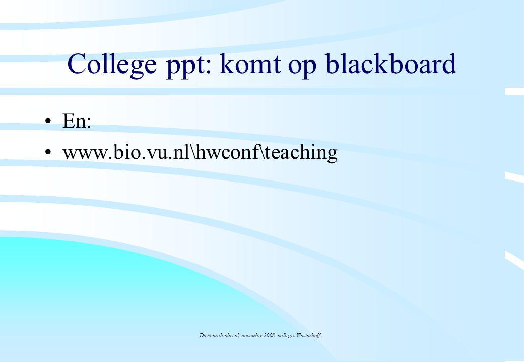 De microbiële cel, november 2008: colleges Westerhoff black board