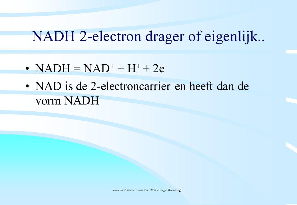 De microbiële cel, november 2008: colleges Westerhoff NADH 2-electron drager of eigenlijk.. NADH = NAD + + H + + 2e - NAD is de 2-electroncarrier en h