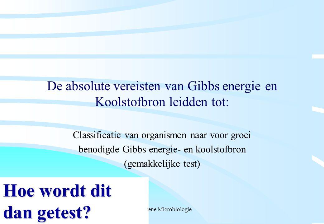 Algemene Microbiologie De absolute vereisten van Gibbs energie en Koolstofbron leidden tot: Classificatie van organismen naar voor groei benodigde Gib
