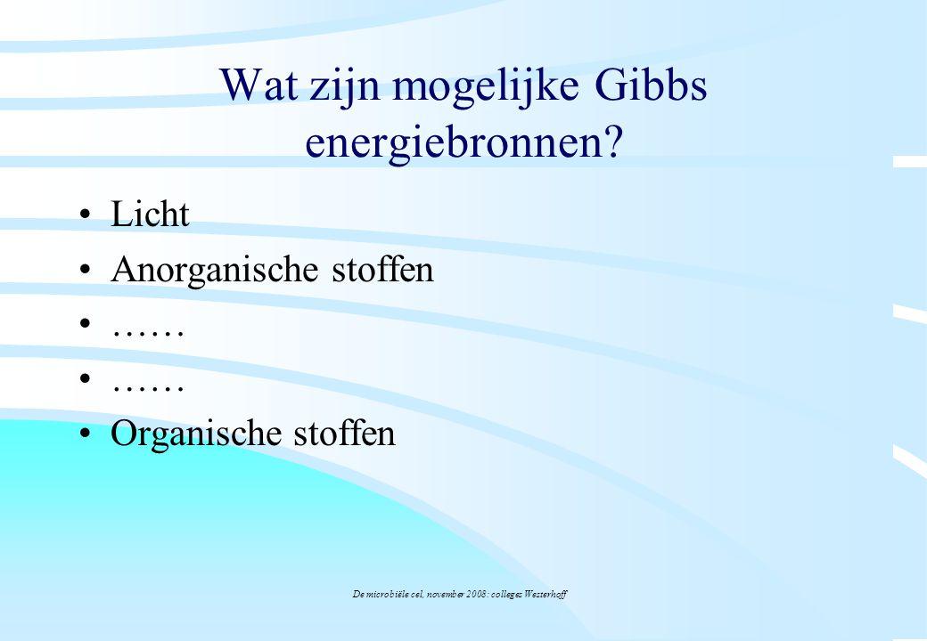 De microbiële cel, november 2008: colleges Westerhoff Wat zijn mogelijke Gibbs energiebronnen? Licht Anorganische stoffen …… Organische stoffen