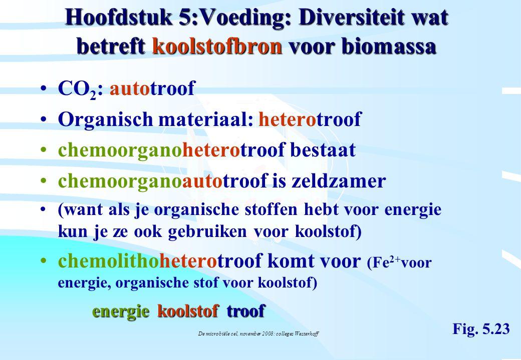 De microbiële cel, november 2008: colleges Westerhoff Hoofdstuk 5:Voeding: Diversiteit wat betreft koolstofbron voor biomassa CO 2 : autotroof Organis