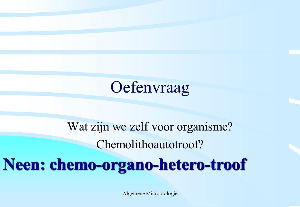 Algemene Microbiologie Oefenvraag Wat zijn we zelf voor organisme? Chemolithoautotroof? Neen: chemo-organo-hetero-troof