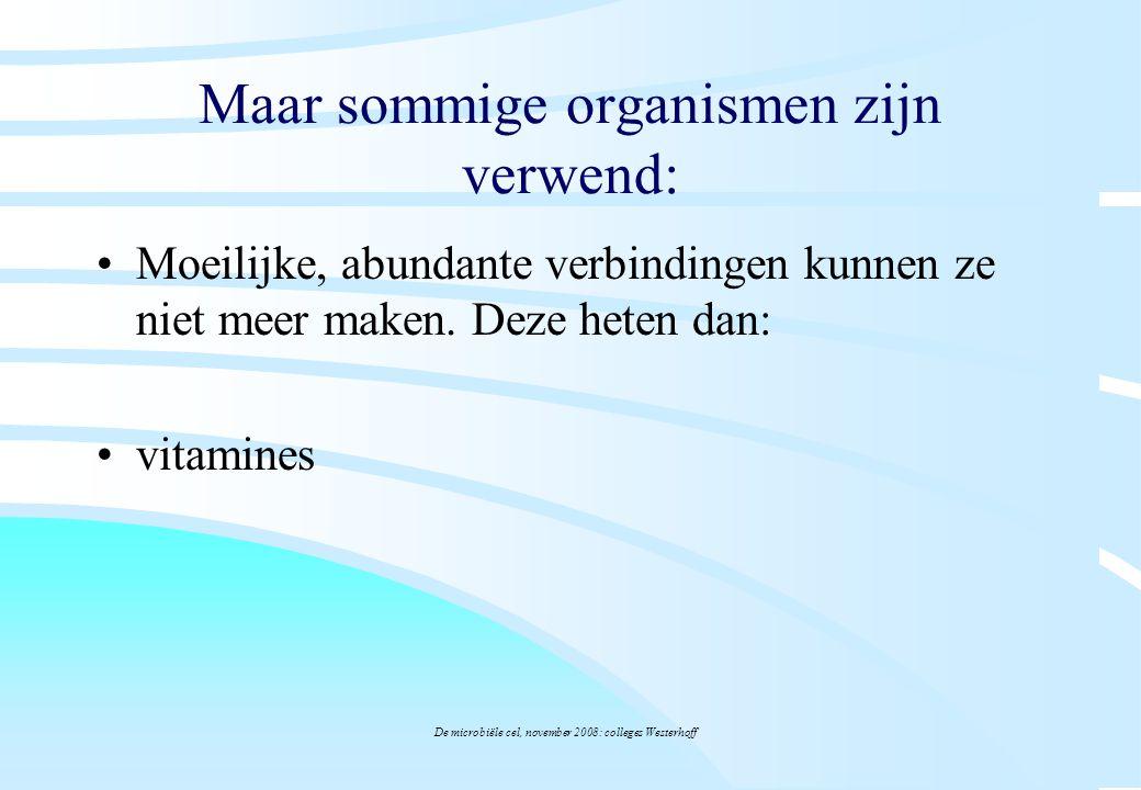 De microbiële cel, november 2008: colleges Westerhoff Maar sommige organismen zijn verwend: Moeilijke, abundante verbindingen kunnen ze niet meer make