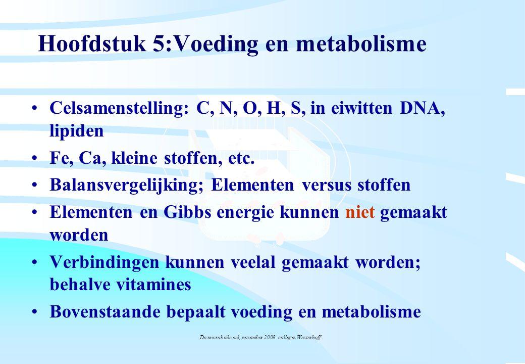 De microbiële cel, november 2008: colleges Westerhoff Hoofdstuk 5:Voeding en metabolisme Celsamenstelling: C, N, O, H, S, in eiwitten DNA, lipiden Fe,