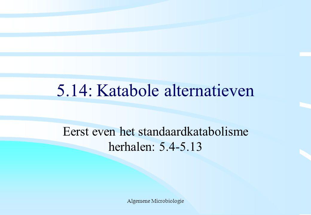 Algemene Microbiologie 5.14: Katabole alternatieven Eerst even het standaardkatabolisme herhalen: 5.4-5.13