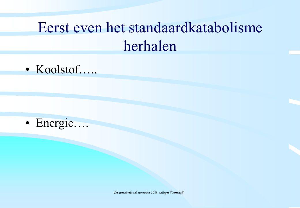 De microbiële cel, november 2008: colleges Westerhoff Eerst even het standaardkatabolisme herhalen Koolstof….. Energie….