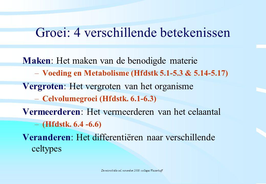 De microbiële cel, november 2008: colleges Westerhoff Hoofdstuk 5:Voeding en metabolisme Celsamenstelling: C, N, O, H, S, in eiwitten DNA, lipiden Fe, Ca, kleine stoffen, etc.