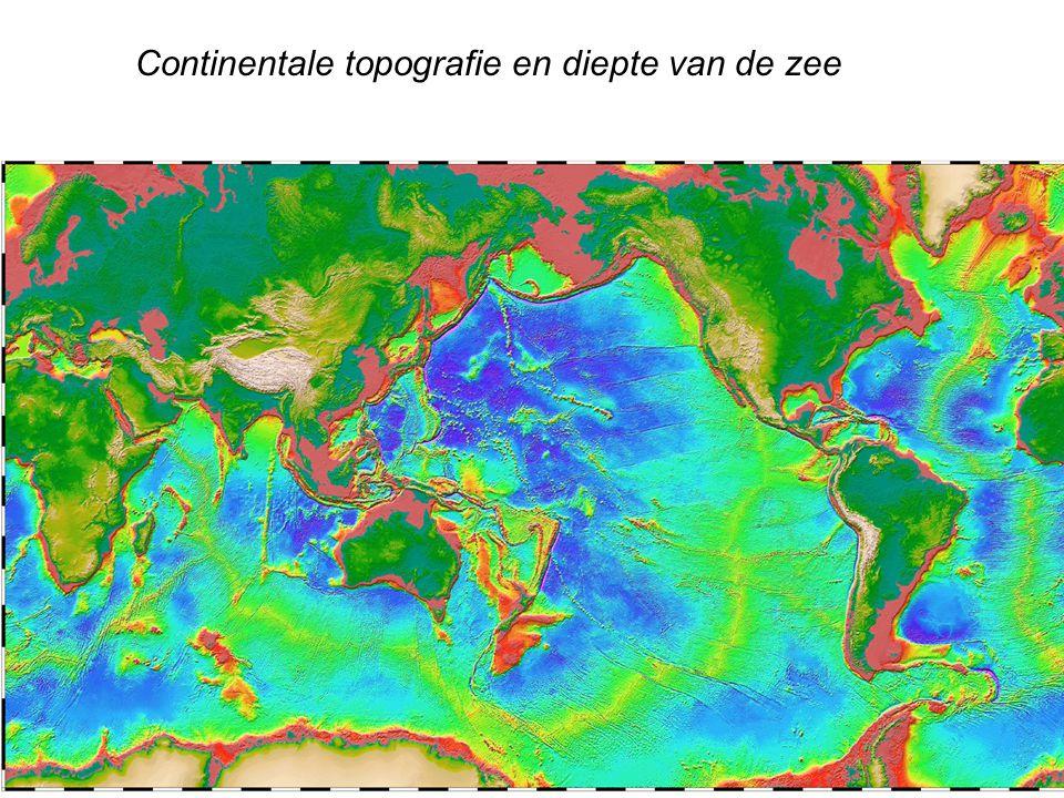 Continentale topografie en diepte van de zee