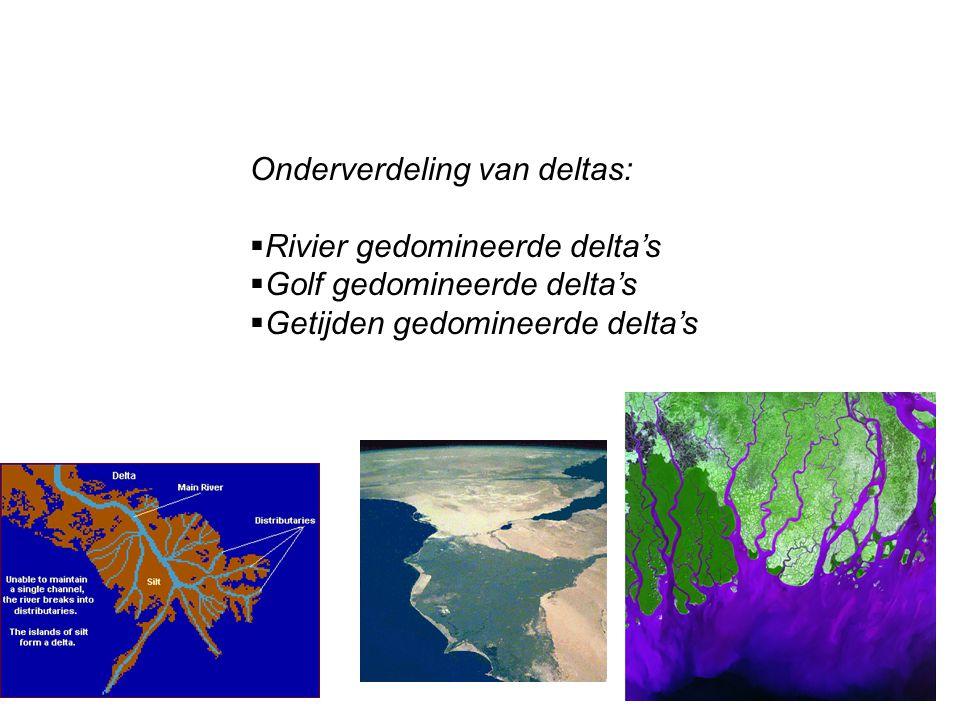 Onderverdeling van deltas:  Rivier gedomineerde delta's  Golf gedomineerde delta's  Getijden gedomineerde delta's