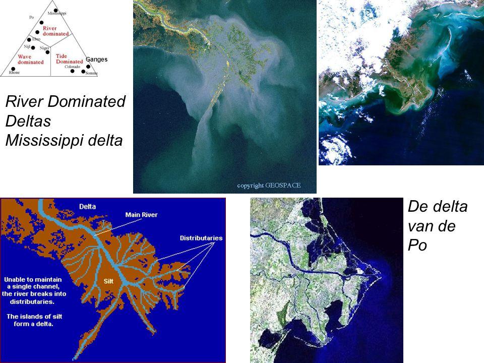 River Dominated Deltas Mississippi delta Ganges De delta van de Po