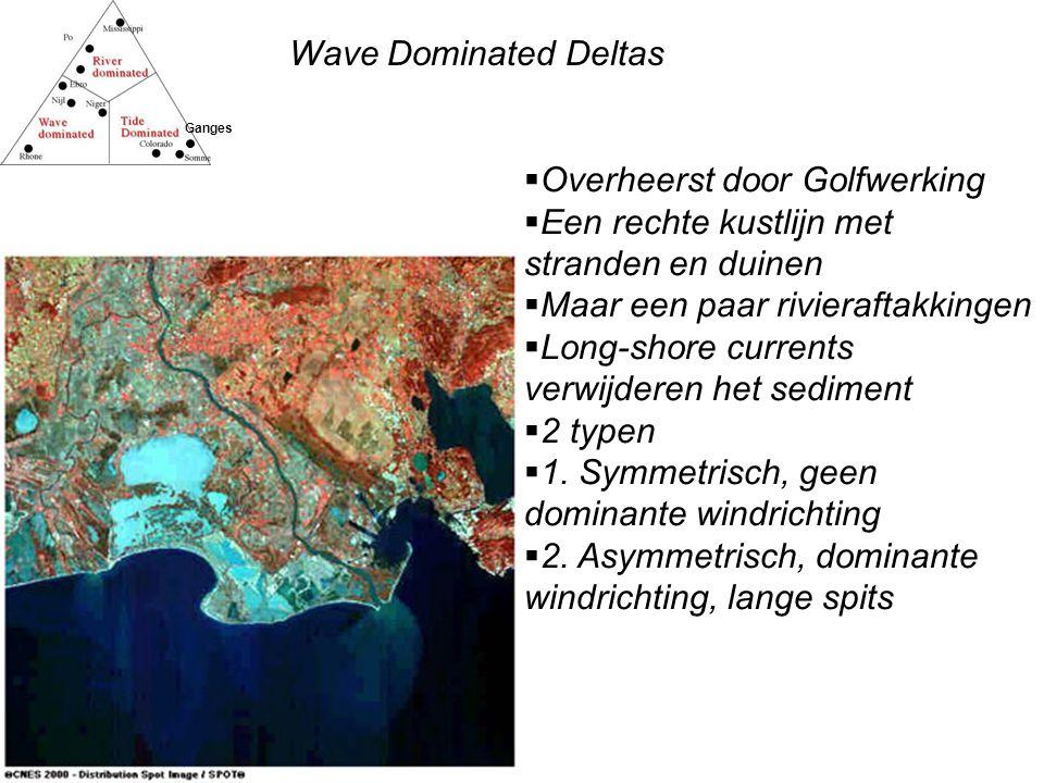 Wave Dominated Deltas Ganges  Overheerst door Golfwerking  Een rechte kustlijn met stranden en duinen  Maar een paar rivieraftakkingen  Long-shore currents verwijderen het sediment  2 typen  1.