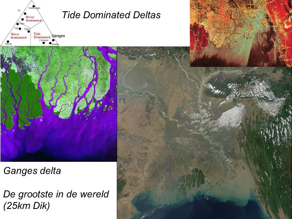 Tide Dominated Deltas Ganges Ganges delta De grootste in de wereld (25km Dik)