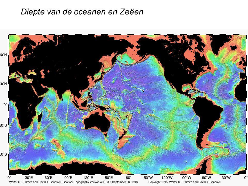 Diepte van de oceanen en Zeëen