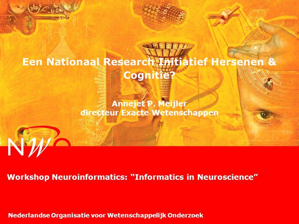 Nederlandse Organisatie voor Wetenschappelijk Onderzoek Een Nationaal Research Initiatief Hersenen & Cognitie? Annejet P. Meijler directeur Exacte Wet