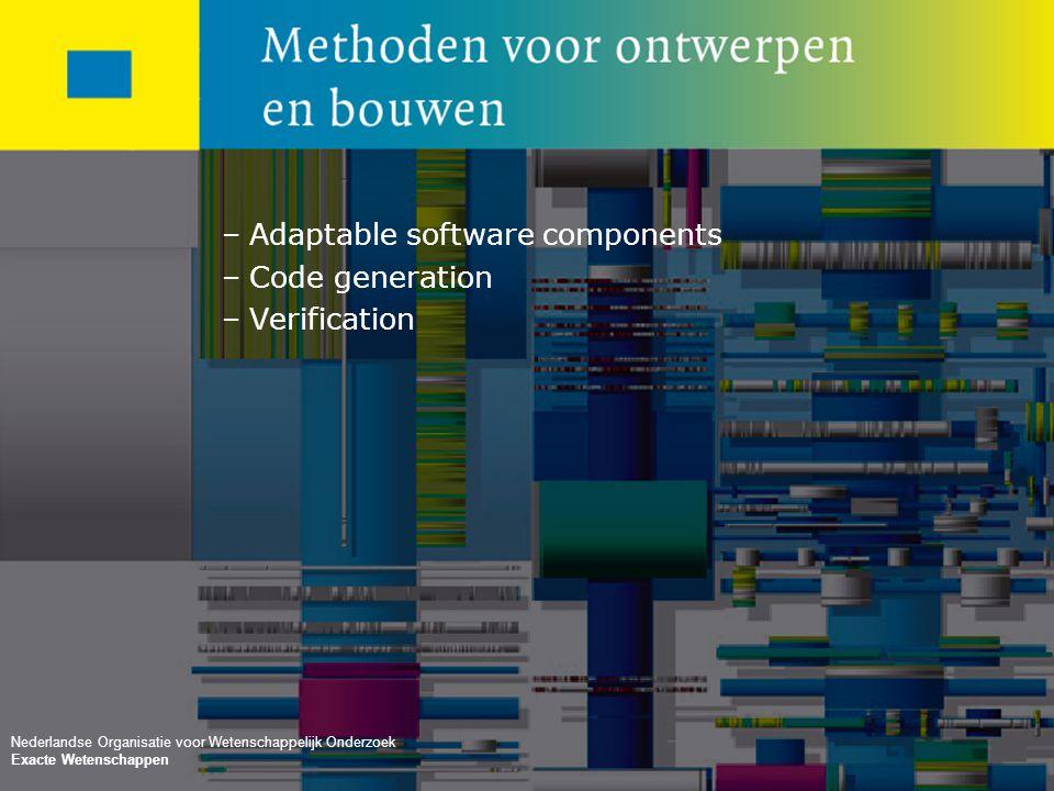 No rights can be claimed from this presentation Nederlandse Organisatie voor Wetenschappelijk Onderzoek –Adaptable software components –Code generation –Verification Nederlandse Organisatie voor Wetenschappelijk Onderzoek Exacte Wetenschappen