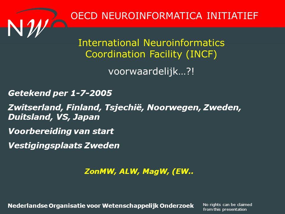 No rights can be claimed from this presentation Nederlandse Organisatie voor Wetenschappelijk Onderzoek Getekend per 1-7-2005 Zwitserland, Finland, Tsjechië, Noorwegen, Zweden, Duitsland, VS, Japan Voorbereiding van start Vestigingsplaats Zweden OECD NEUROINFORMATICA INITIATIEF International Neuroinformatics Coordination Facility (INCF) voorwaardelijk… .
