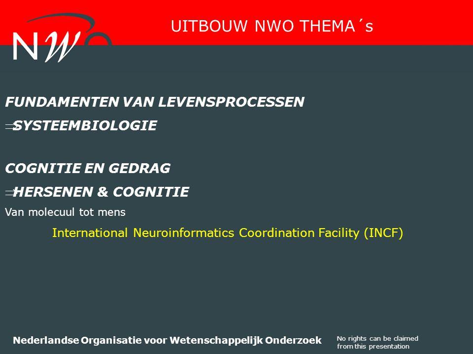 No rights can be claimed from this presentation Nederlandse Organisatie voor Wetenschappelijk Onderzoek FUNDAMENTEN VAN LEVENSPROCESSEN SYSTEEMBIOLOGIE COGNITIE EN GEDRAG HERSENEN & COGNITIE Van molecuul tot mens International Neuroinformatics Coordination Facility (INCF) UITBOUW NWO THEMA´s
