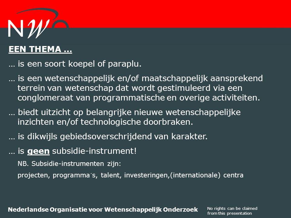 No rights can be claimed from this presentation Nederlandse Organisatie voor Wetenschappelijk Onderzoek EEN THEMA … … is een soort koepel of paraplu.