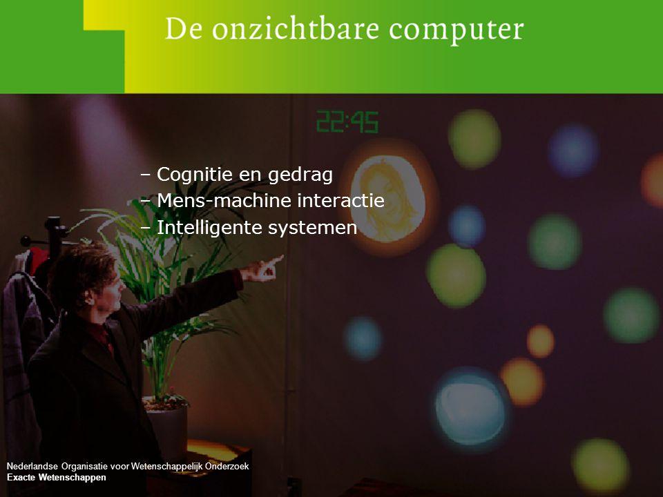 No rights can be claimed from this presentation Nederlandse Organisatie voor Wetenschappelijk Onderzoek –Cognitie en gedrag –Mens-machine interactie –
