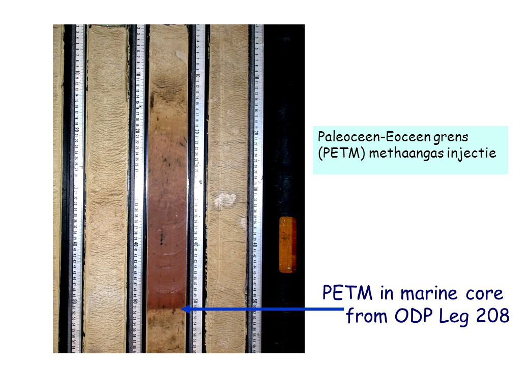 PETM Evidence for methane hydrate instability during PETM: 3‰ excursion in  13 C in all reservoirs pronounced dissolution of carbonate 1 to 8°C increase in ocean temperatures (  18 O, Mg/Ca)