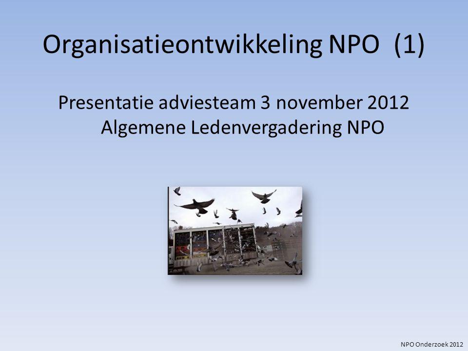 NPO Onderzoek 2012 Organisatieontwikkeling NPO (1) Presentatie adviesteam 3 november 2012 Algemene Ledenvergadering NPO