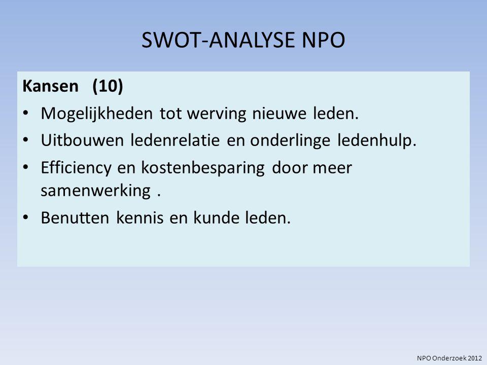 NPO Onderzoek 2012 SWOT-ANALYSE NPO Kansen (10) Mogelijkheden tot werving nieuwe leden. Uitbouwen ledenrelatie en onderlinge ledenhulp. Efficiency en