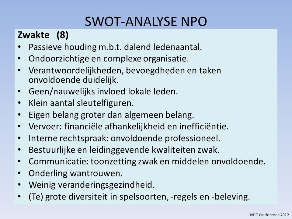 NPO Onderzoek 2012 SWOT-ANALYSE NPO Zwakte (8) Passieve houding m.b.t. dalend ledenaantal. Ondoorzichtige en complexe organisatie. Verantwoordelijkhed