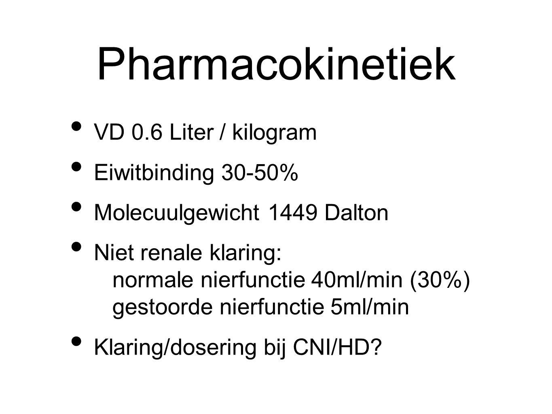 Pharmacokinetiek VD 0.6 Liter / kilogram Eiwitbinding 30-50% Molecuulgewicht 1449 Dalton Niet renale klaring: normale nierfunctie 40ml/min (30%) gestoorde nierfunctie 5ml/min Klaring/dosering bij CNI/HD