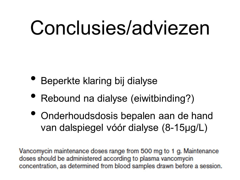 Conclusies/adviezen Beperkte klaring bij dialyse Rebound na dialyse (eiwitbinding ) Onderhoudsdosis bepalen aan de hand van dalspiegel vóór dialyse (8-15µg/L)
