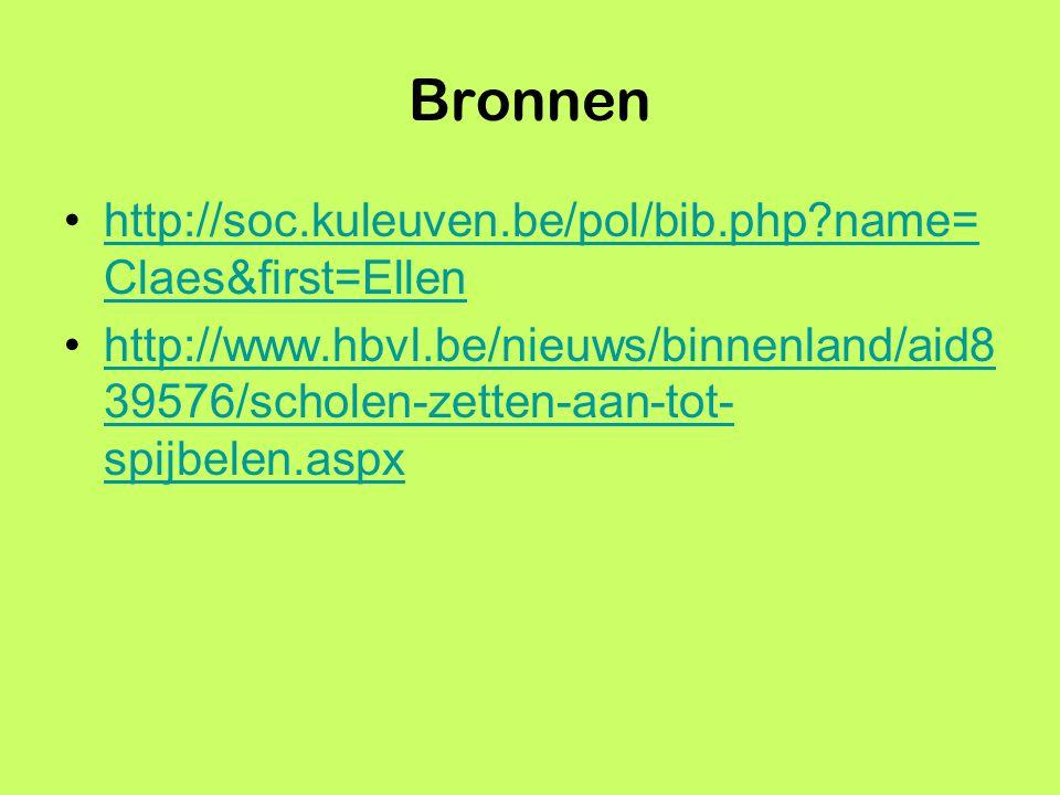 Bronnen http://soc.kuleuven.be/pol/bib.php?name= Claes&first=Ellenhttp://soc.kuleuven.be/pol/bib.php?name= Claes&first=Ellen http://www.hbvl.be/nieuws